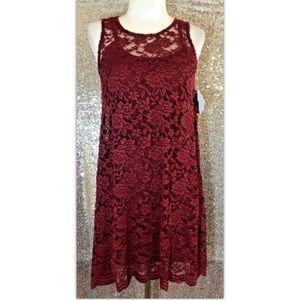 Wallflower Small Dress Burgundy Blush Floral Lace